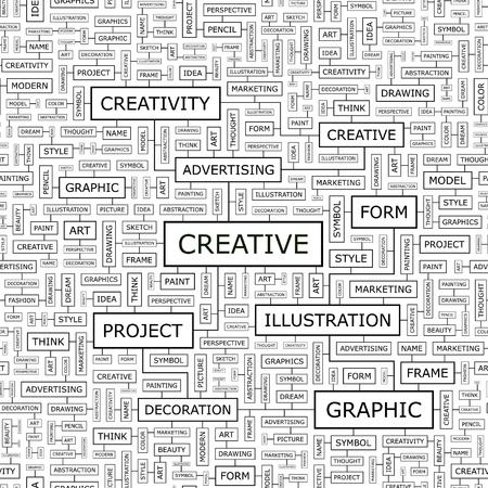 CREATIVE  Word cloud concept illustration  Vector