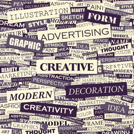 word clouds: CREATIVE  Word cloud concept illustration