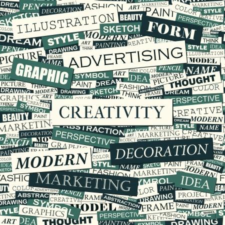 word art: CREATIVITY  Word cloud concept illustration  Illustration