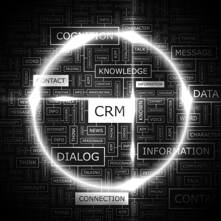 relationship management: CRM  Word cloud concept illustration