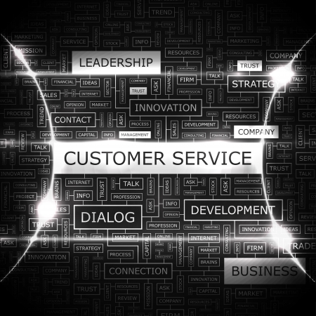 CUSTOMER SERVICE  Word cloud concept illustration