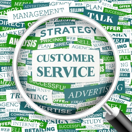customer services: CUSTOMER SERVICE  Word cloud concept illustration