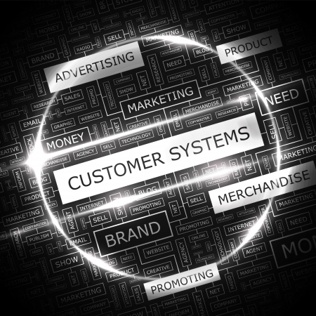 CUSTOMER SYSTEMS  Word cloud concept illustration  Vector