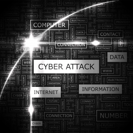 attacks: CYBER ATTACK  Word cloud concept illustration