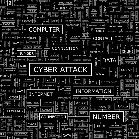 CYBER ATTACK  Word cloud concept illustration  Vector