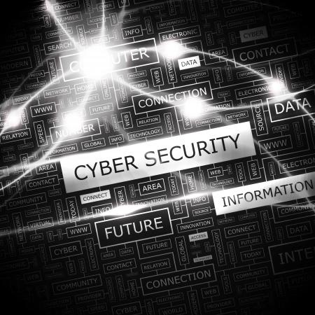 computer hacker: CYBER SECURITY Word cloud concetto illustrazione Vettoriali