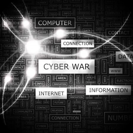 CYBER WAR  Word cloud concept illustration  Vector