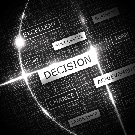 DECISION  Word cloud concept illustration  Vector