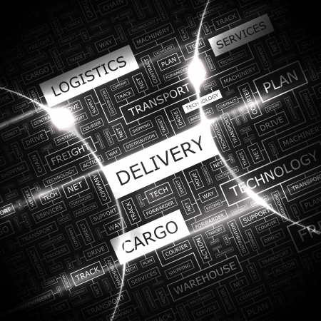 freight: DELIVERY  Word cloud concept illustration