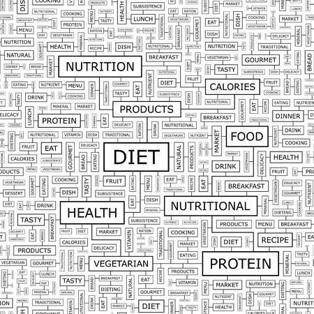 health collage: DIET  Word cloud concept illustration