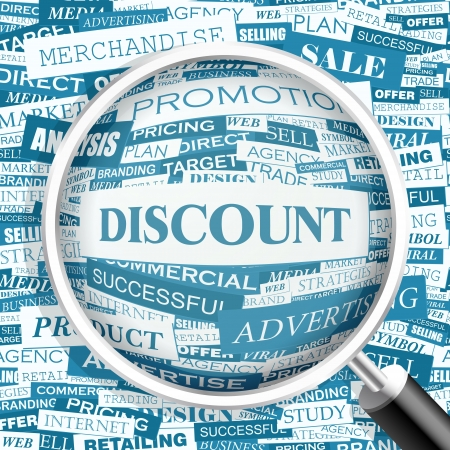 word art: DISCOUNT  Word cloud illustration  Tag cloud concept collage  Vector illustration