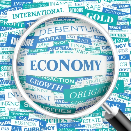 ECONOMY  Word cloud concept illustration  Vector
