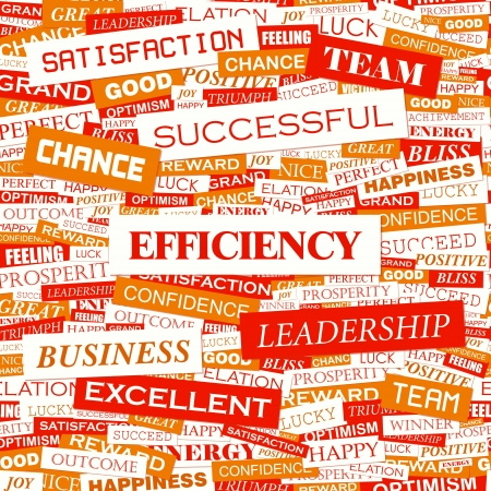 EFFICIENCY  Word cloud concept illustration  Vector