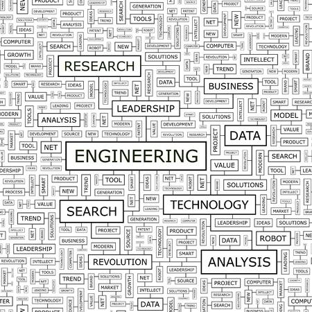 technical term: ENGINEERING  Word cloud concept illustration  Illustration