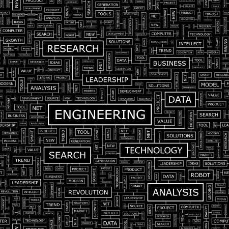 ENGINEERING  Word cloud concept illustration  Vettoriali