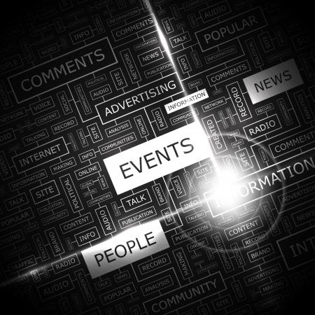 EVENTS  Word cloud concept illustration  Stock Illustratie