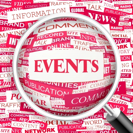 EVENTS  Word cloud concept illustration  Vector