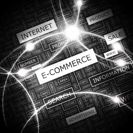 E-COMMERCE  Word cloud concept illustration  Ilustração