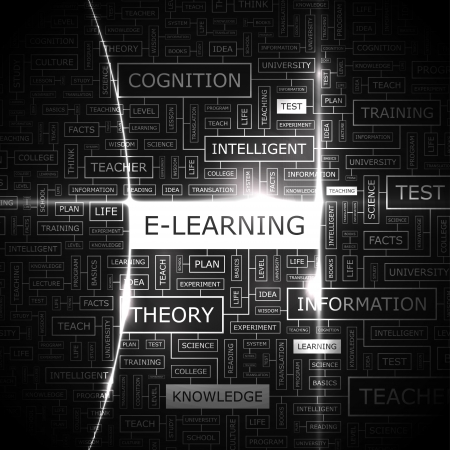 E-LEARNING  Word cloud concept illustration