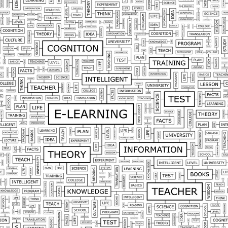 E-LEARNING  Word cloud concept illustration  Vector