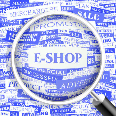 eshop: E-SHOP  Word cloud concept illustration  Illustration