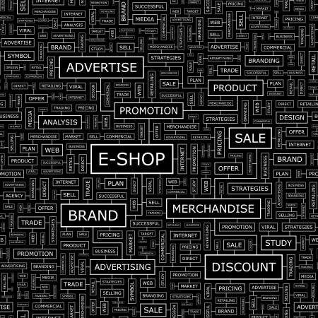 E-SHOP  Word cloud concept illustration  Vector