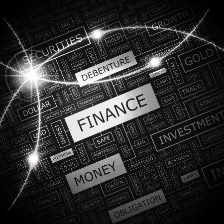 FINANCE  Word cloud concept illustration  Vector