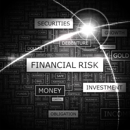 economy crisis: FINANCIAL RISK  Word cloud concept illustration  Illustration