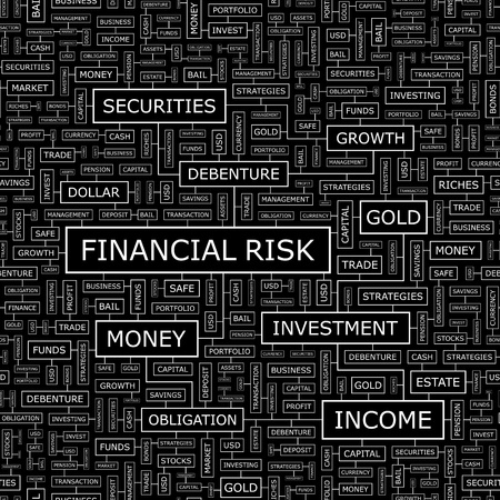 risk analysis: FINANCIAL RISK  Word cloud concept illustration  Illustration
