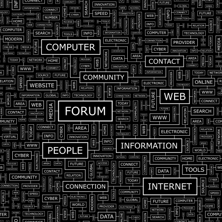 FORUM  Word cloud concept illustration  Vector