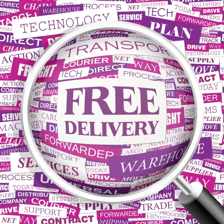 free abstract: FREE DELIVERY  Word cloud concept illustration