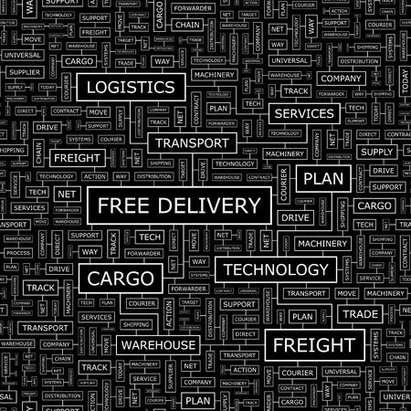 FREE DELIVERY  Word cloud concept illustration