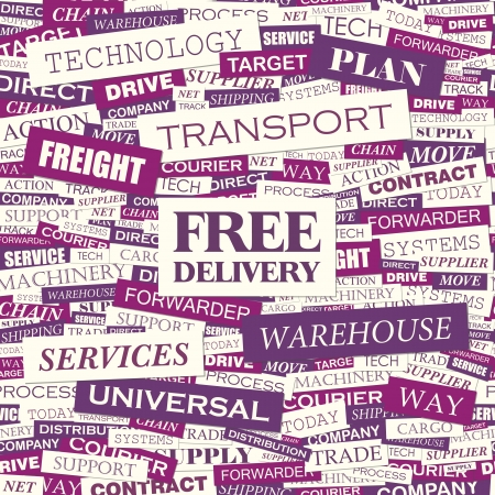 FREE DELIVERY  Word cloud concept illustration  Vector