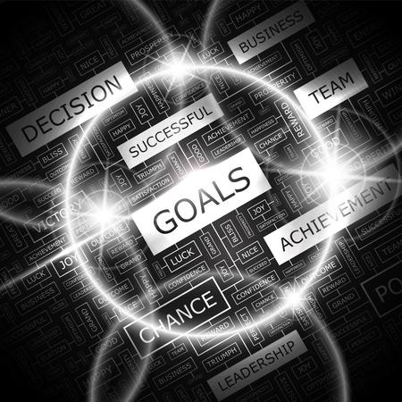 GOALS  Word cloud concept illustration  Vector