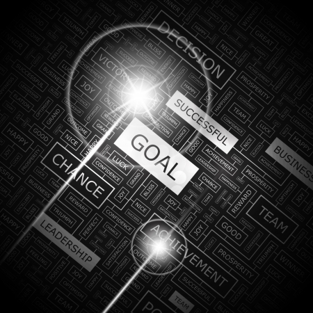 GOAL  Word cloud concept illustration  Vector