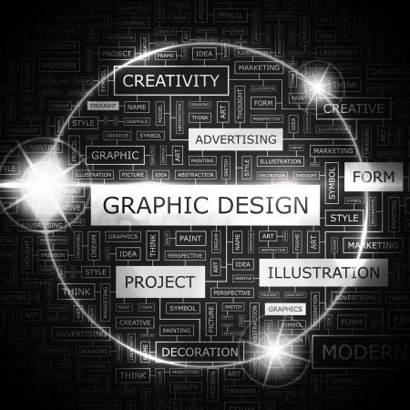 website words: GRAPHIC DESIGN  Word cloud concept illustration  Illustration