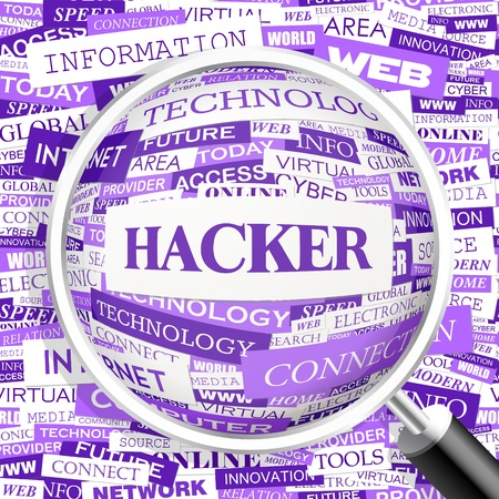 HACKER  Word cloud concept illustration Stock Vector - 20629884