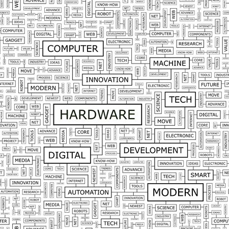 HARDWARE  Word cloud concept illustration  Stock Vector - 23638475