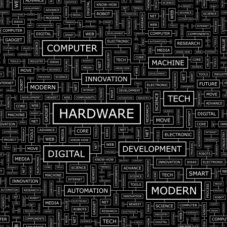 HARDWARE  Word cloud concept illustration  Vector