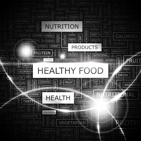 HEALTHY FOOD  Word cloud concept illustration  Vector