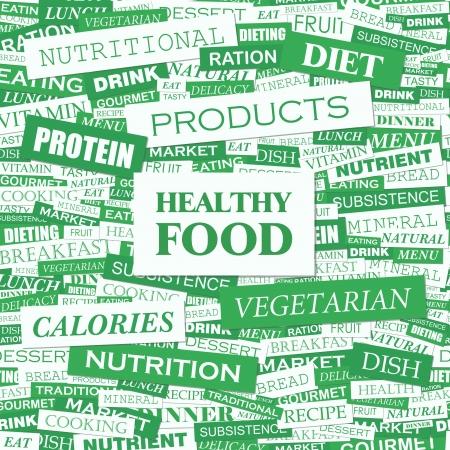 HEALTHY FOOD  Word cloud concept illustration Stock Vector - 20168284