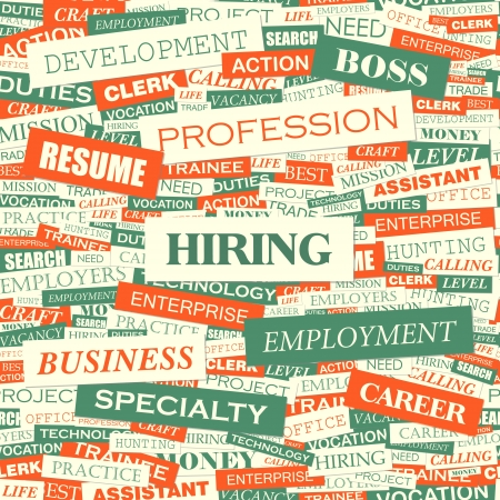 unemployed: HIRING  Word cloud concept illustration  Illustration