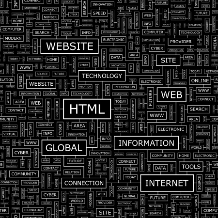 HTML  Word cloud concept illustration  Vector