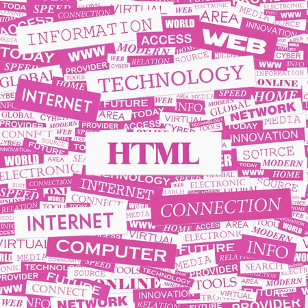 hypertext: HTML  Word cloud concept illustration