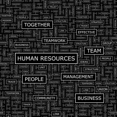 HUMAN RESOURCES  Word cloud concept illustration  Vector