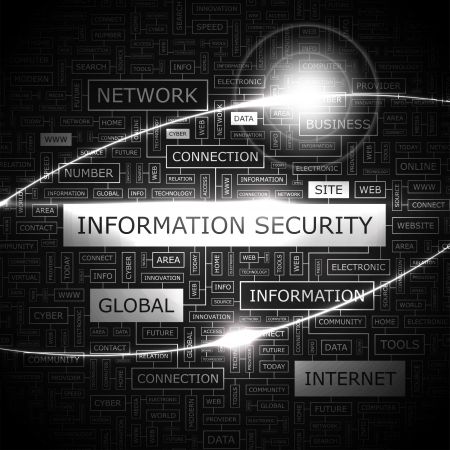 INFORMATION SECURITY  Word cloud concept illustration  Vector