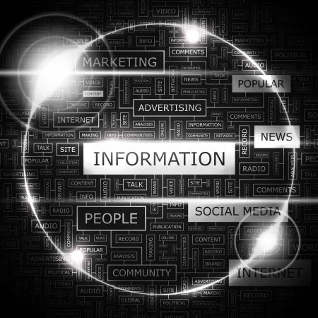 term: INFORMATION  Word cloud concept illustration  Illustration