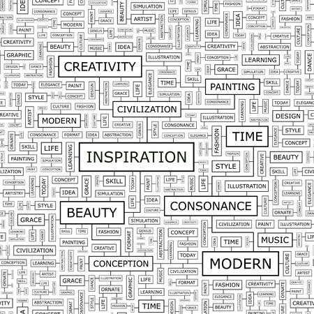INSPIRATION Word Cloud Konzept Illustration