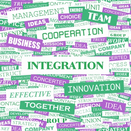INTEGRATION  Word cloud concept illustration  Vector