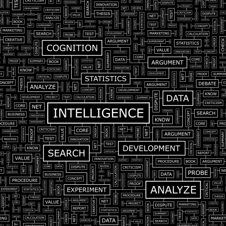 INTELLIGENCE  Word cloud concept illustration  Vector